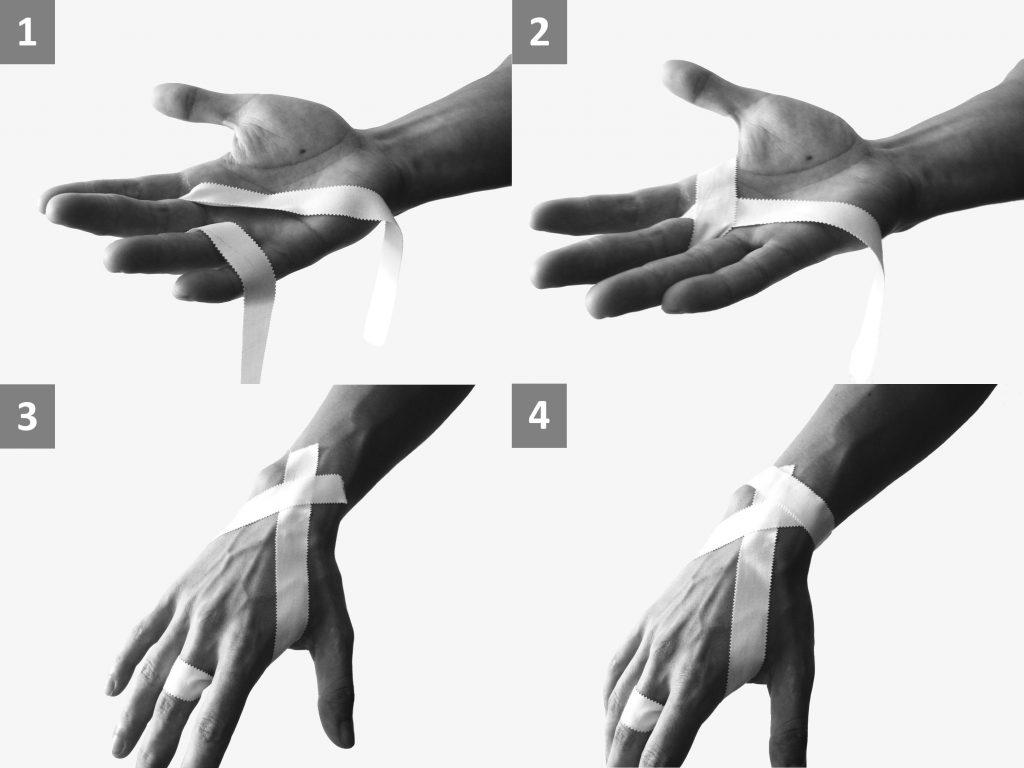 Flapper an der Handfläche tapen